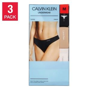 Calvin Klein Seamless Tagless 3 Thongs Pack